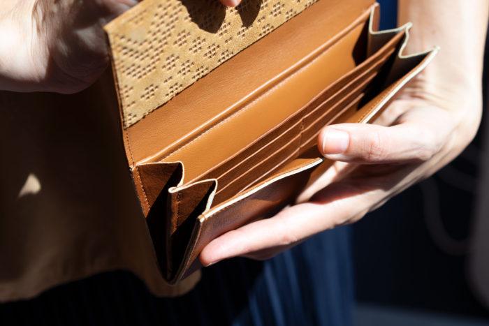Innenfächer für Karten und Scheine eines Ledergeldbeutels