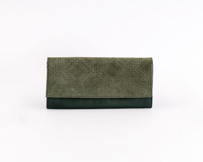 Geldbeutel aus grünem Leder von frisch Beutel mit Muster Prägung