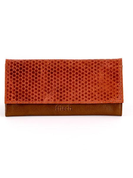 Ledergeldbeutel von frisch Beutel mit Klappe in orange und braunem Leder