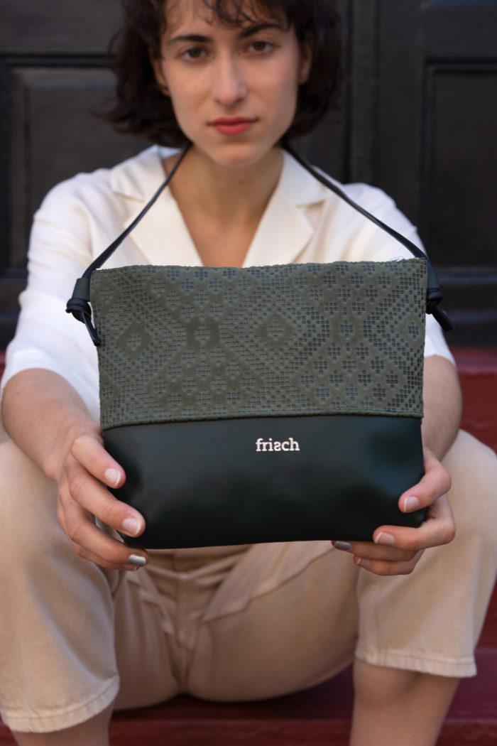 frisch Beutel Tasche aus dunkelgrünem Leder mit Muster