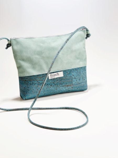 Handtasche Kiesel von frisch Beutel aus Kork und Leder in türkis