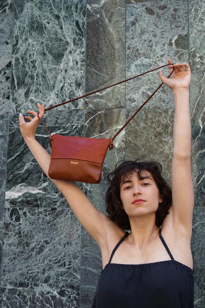 Kleine frisch Beutel Handtasche in rostrot und braun