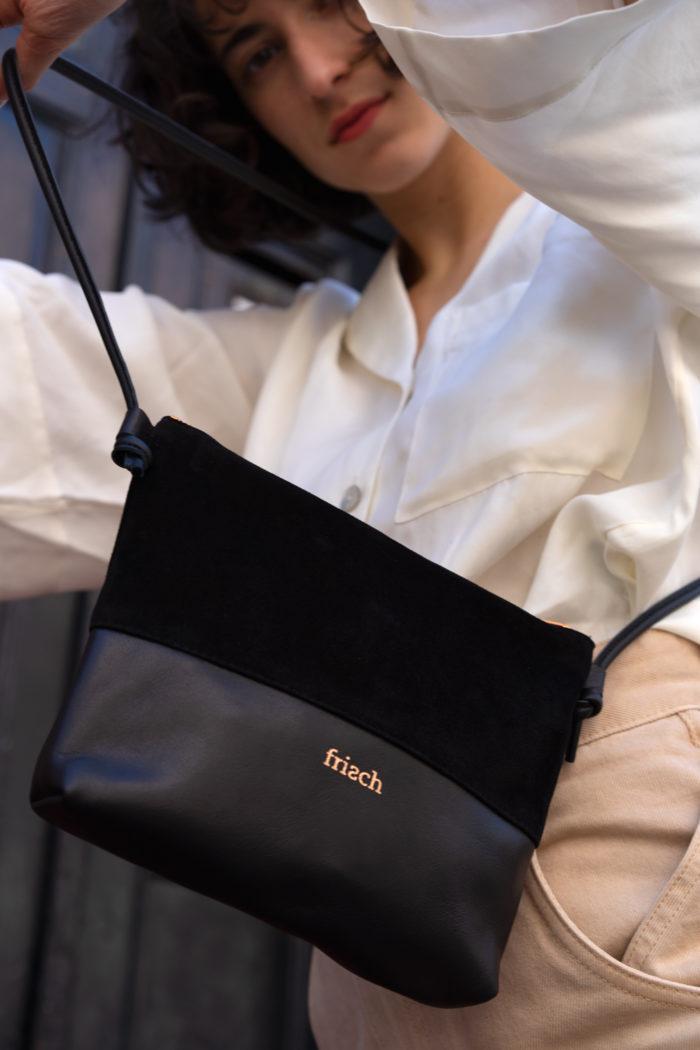 frisch Beutel Tasche aus schwarzem Leder und Velour