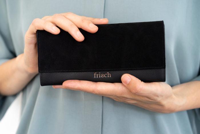 Schicke Damen Geldbörse in schwarz mit Veloursleder von frisch Beutel
