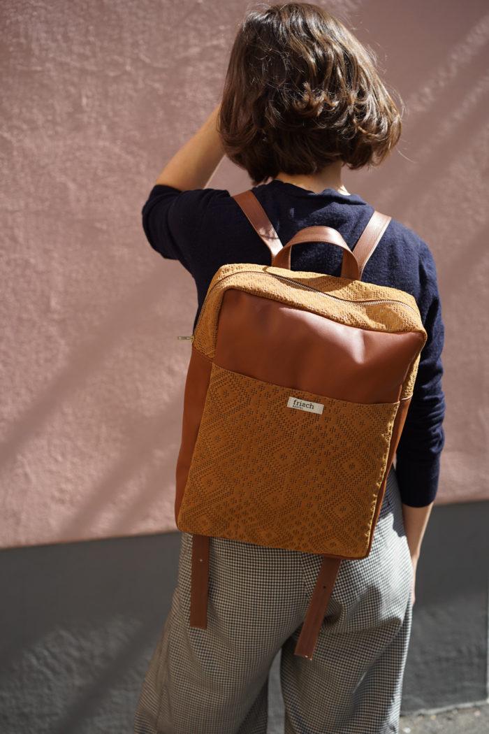 Brauner Rucksack Boho aus Leder von frisch Beutel