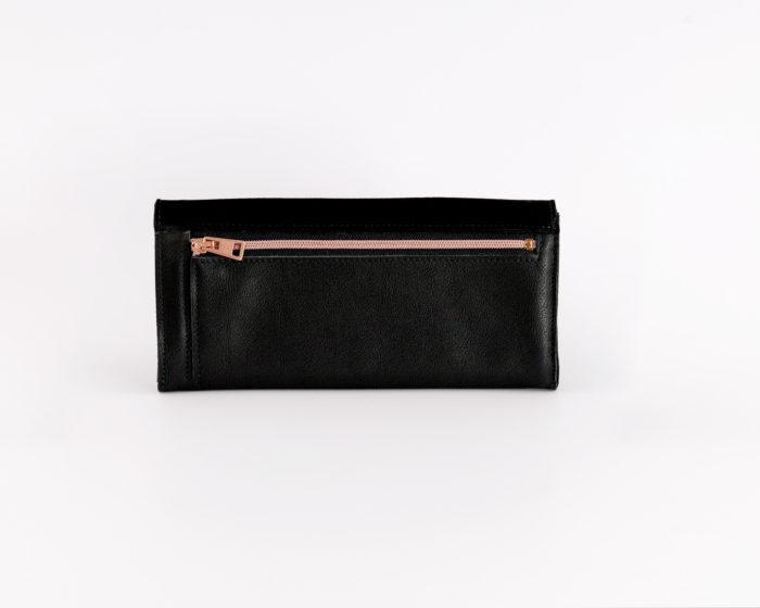 Schwarzes Portemonnaie mit Kupfer Reißverschluss für Münzen