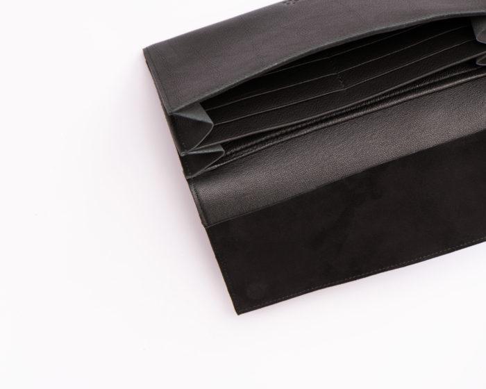Innenfächer einer schwarzen Geldbeutels für Karten und Scheine