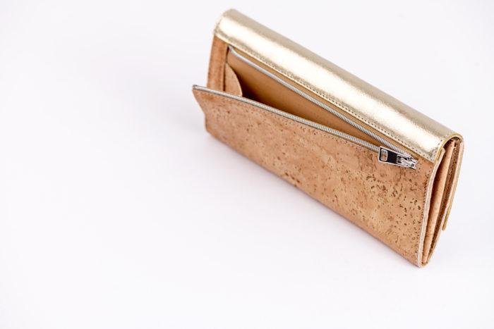 Geldbeutel für Damen aus Kork mit Münzfach an der Rückseite