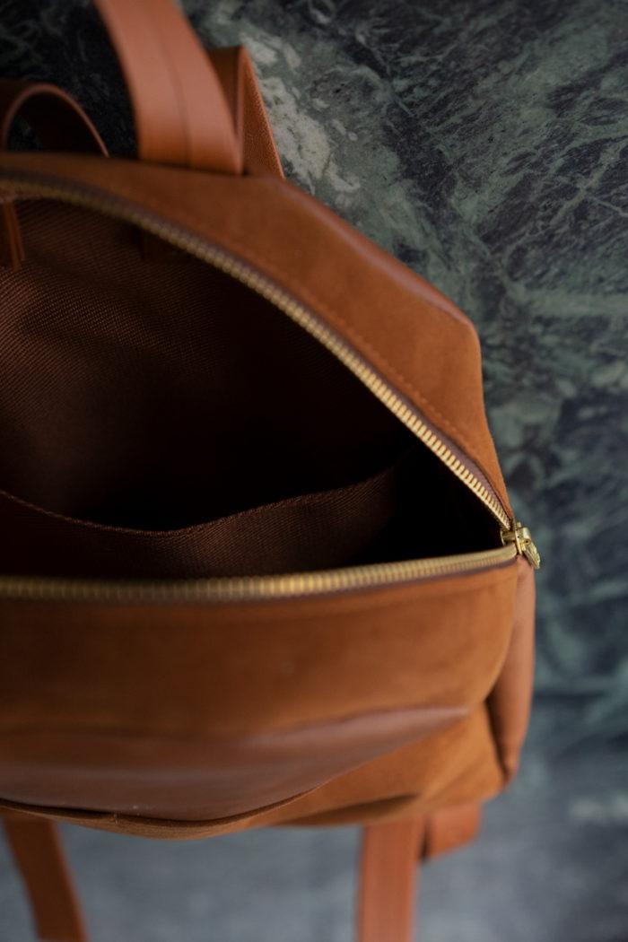 Innenfutter kleiner Rucksack aus Leder braun