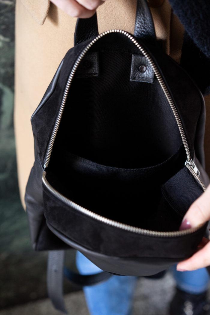 Innenfutter kleiner Rucksack aus Leder schwarz