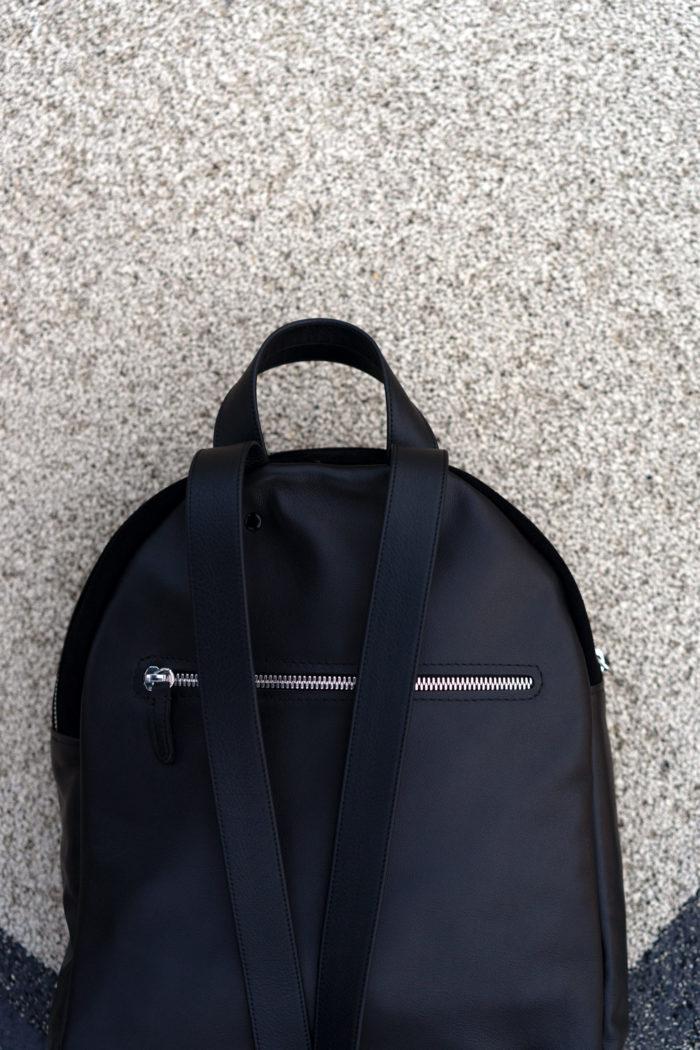 edler Lederrucksack in schwarz fair produziert in Frankfurt