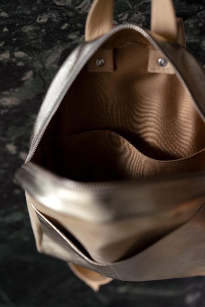 Innenfutter kleiner Rucksack aus Leder beige
