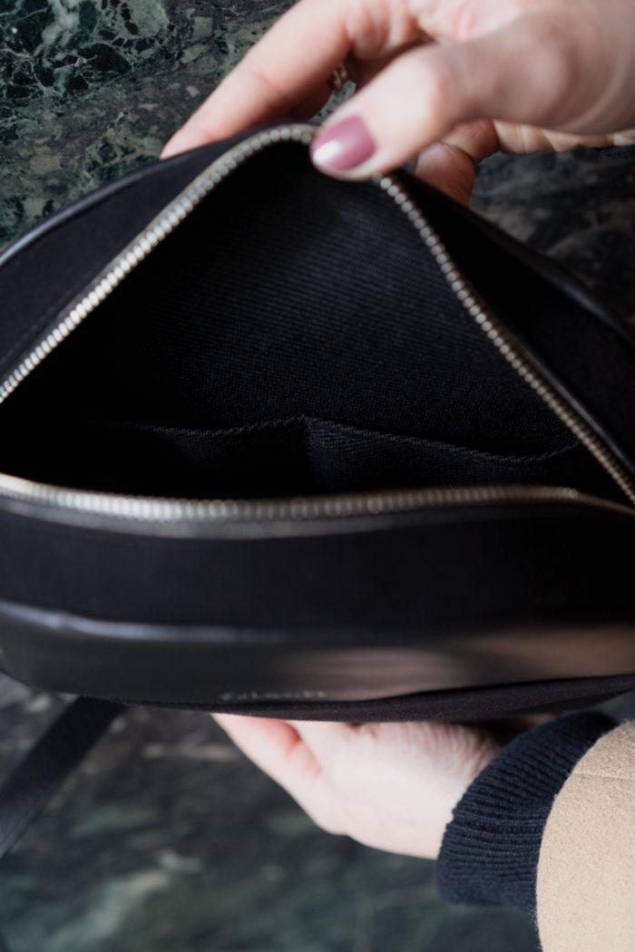 Innenfutter runde Tasche aus Leder schwarz