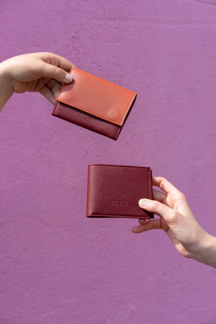 Produktbilder von kleinem Geldbeutel und Brieftasche Apfel