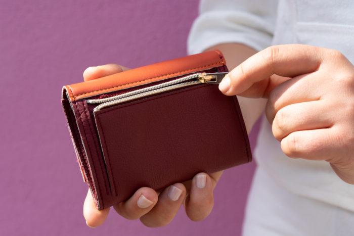 Kleiner Geldbeutel aus Apfelleder Rückseite mit Münzfach