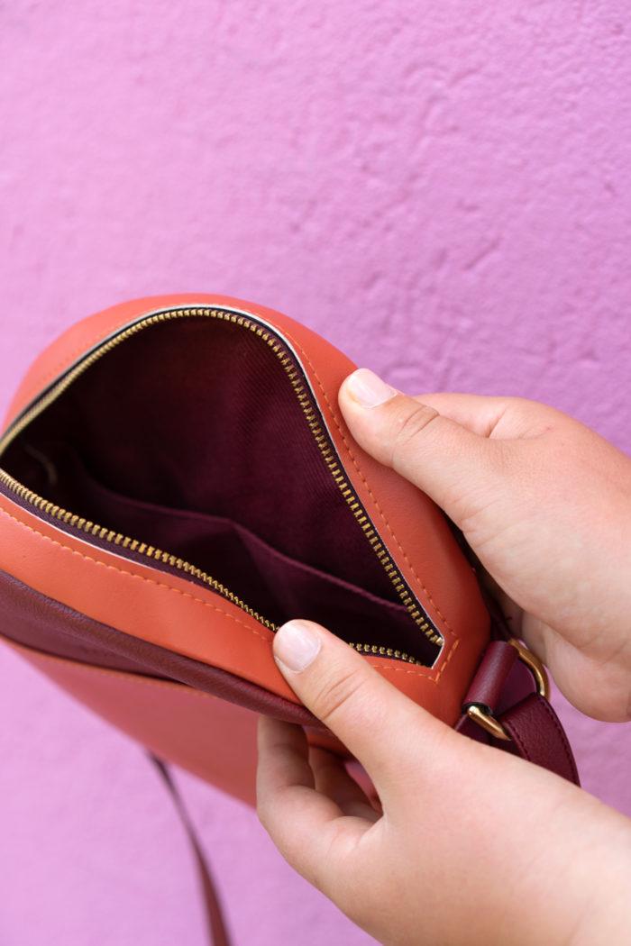 Apfelleder Handtasche Rund Innenfutter