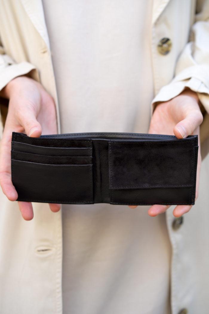 Produktbild Brieftasche Nacht Innenansicht Kombination aus Glatt und Veloursleder schwarz