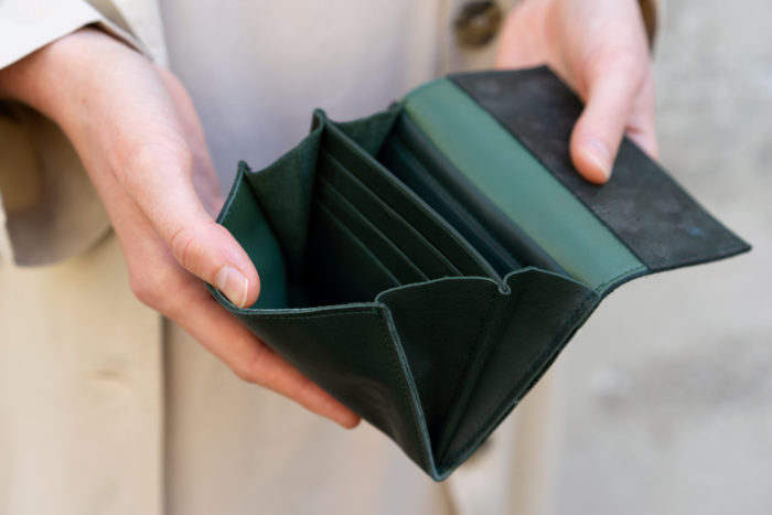 Produktbild kleinem Geldbeutel Wood Innenansicht